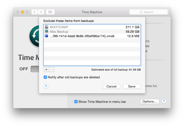exclude in time machine